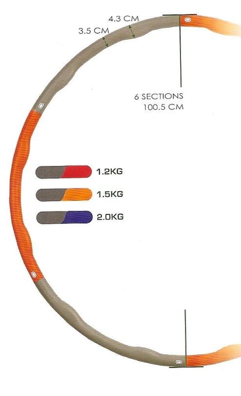 Masážní obruč HULA HOP Ring Wave 1,2 kg