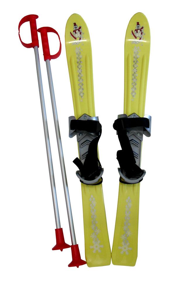 Dětské lyže Baby Ski 70 cm s vázáním - žluté