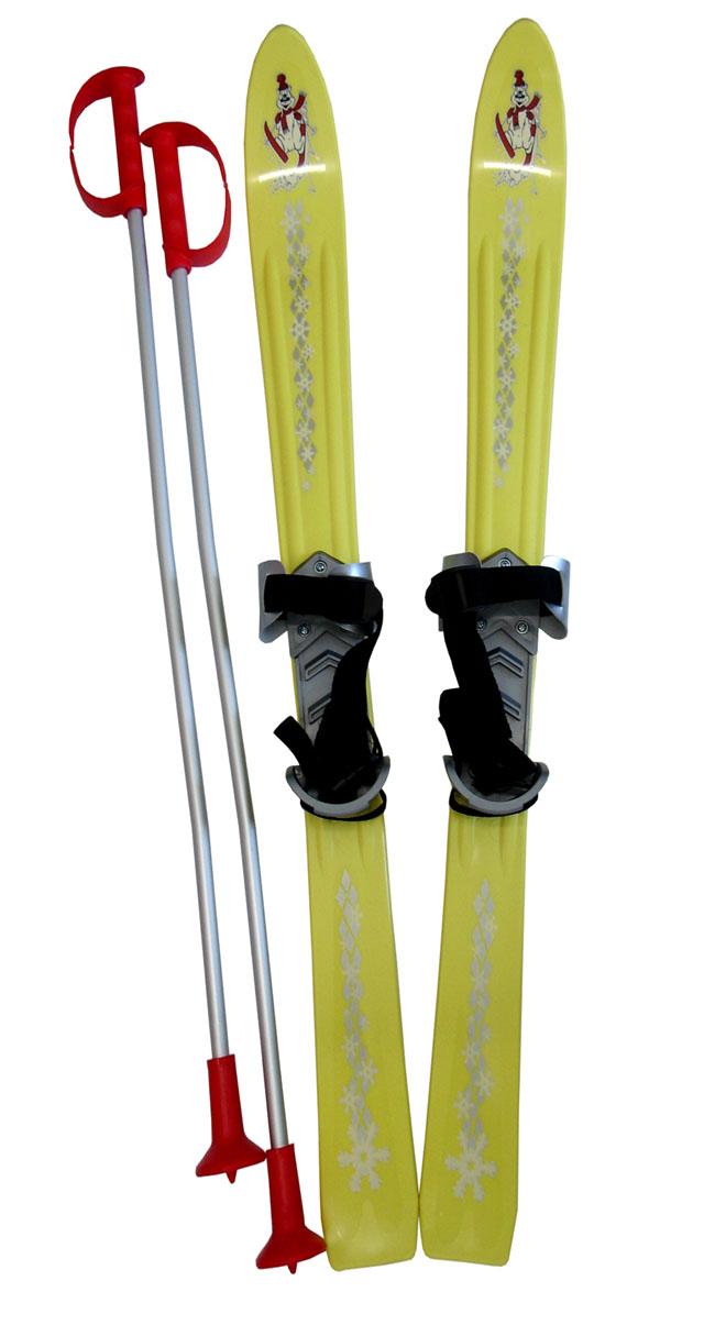 Dětské lyže Baby Ski 90 cm s vázáním - žluté