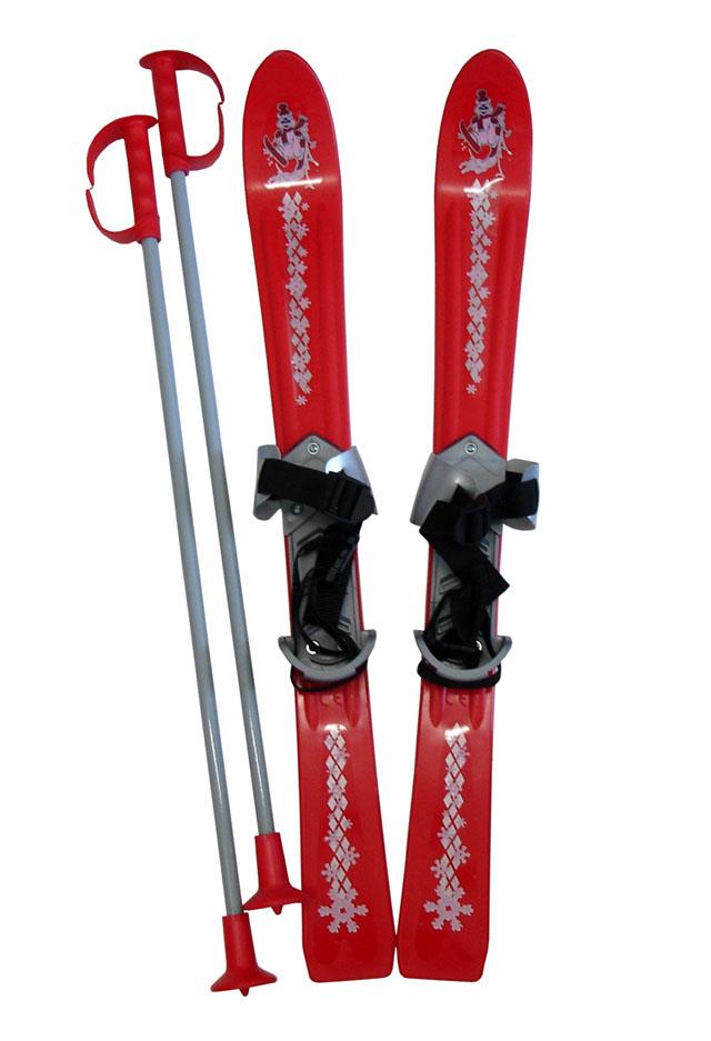 Dětské lyže Baby Ski 70 cm s vázáním - červené