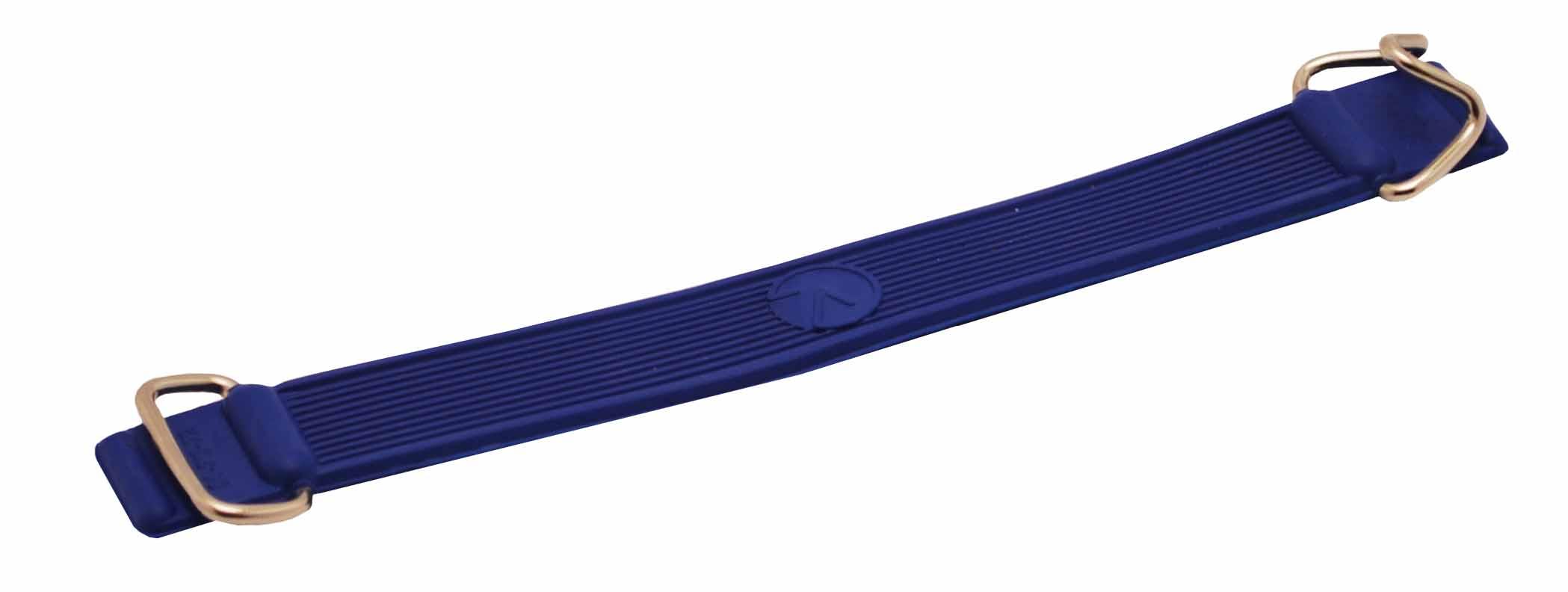 Pásek na lyže gumový s kovovými háčky modrý