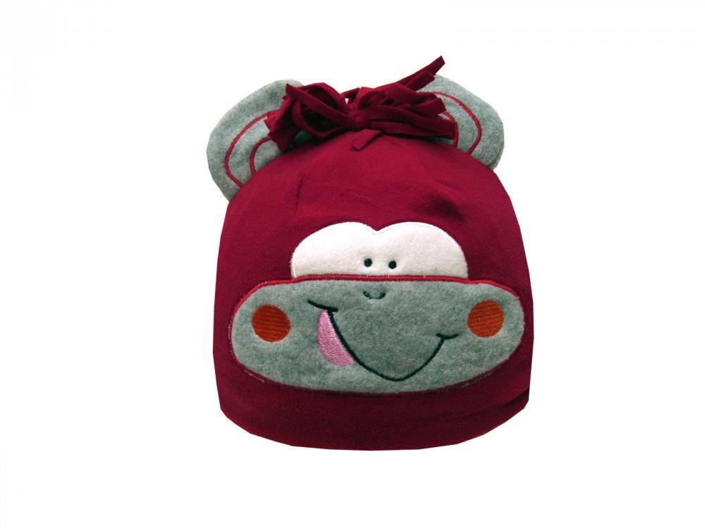 Dětská zimní čepice opička červená