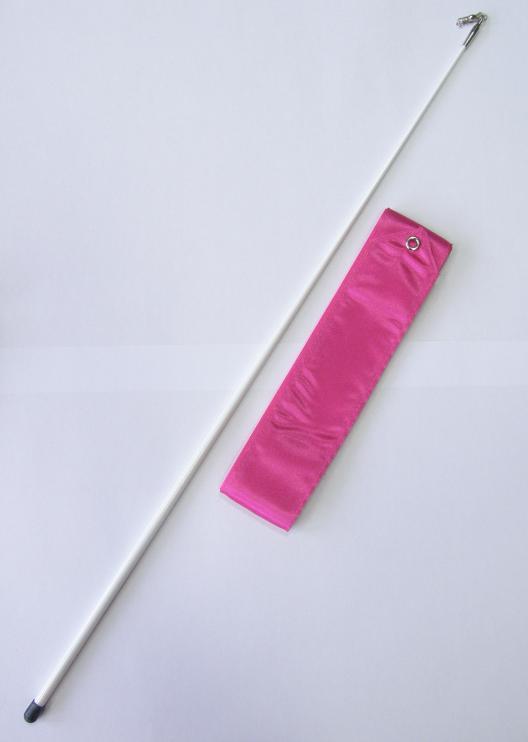 Gymnastická tyčka se stuhou Official Fantasia 6m tm. růžová