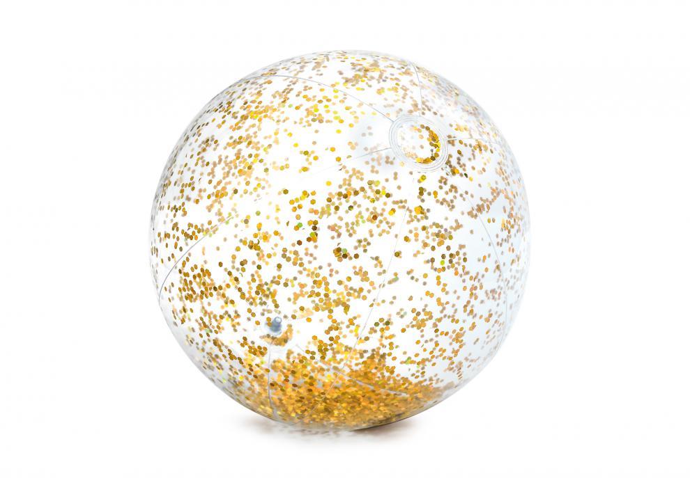 Nafukovací plážový míč Intex 58070 Glitter Transp. zlatý 71cm