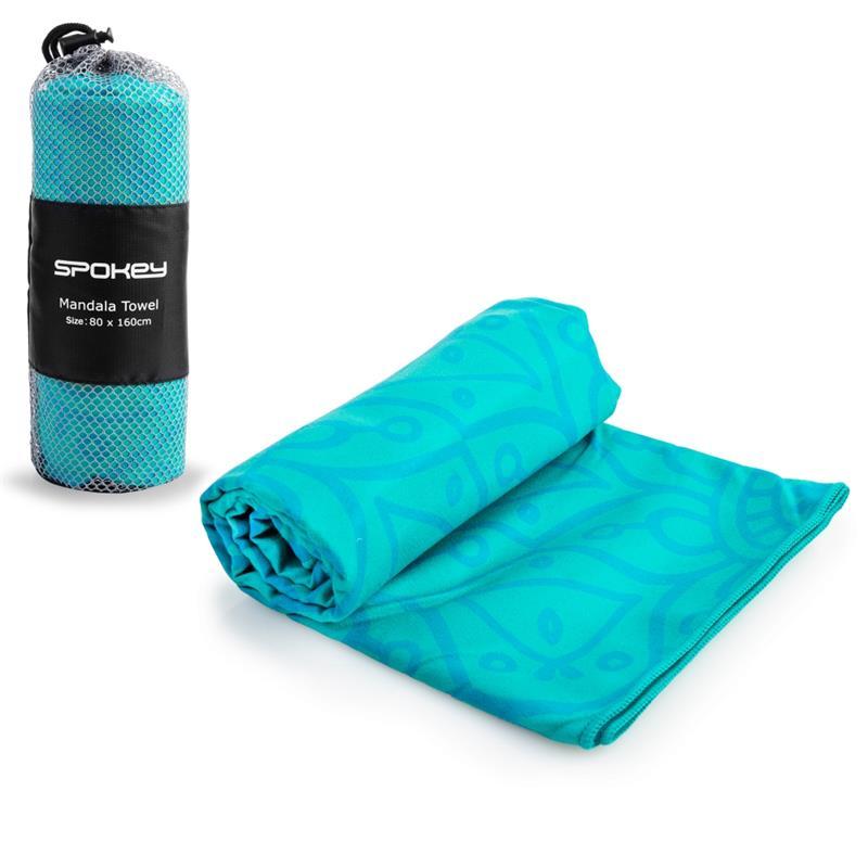 Rychleschnoucí plážový ručník Spokey Mandala tyrkysový 80x160cm