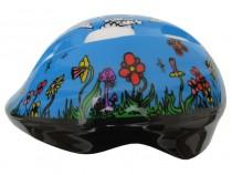 Dětská cyklistická helma Fly modrá s kytičkami