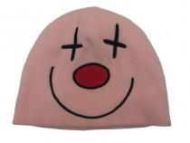 Dětská fleecová zimní čepice růžová - křížky