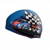 Dětská plavecká čepice Junior Spokey Stylo modrá závodní auto