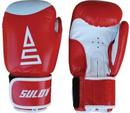 Box rukavice Sulov kožené červeno-bílé