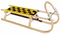 Dřevěné saně Sulov žluto-černé 110cm
