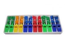 Píšťalky plastové se šnůrkou SET 12ks