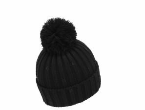 Dámská zimní čepice s bambulí Mess černá