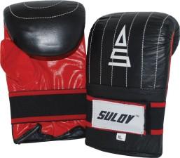 Box rukavice pytlovky Sulov kožené černo-červené
