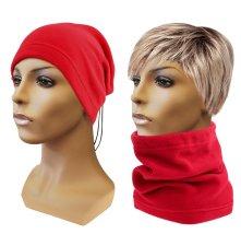 Multifunkční šátek 2v1 Fleece červený