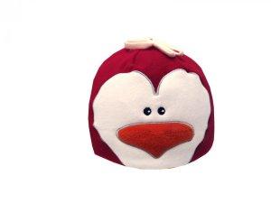 Dětská zimní čepice tučňák červený