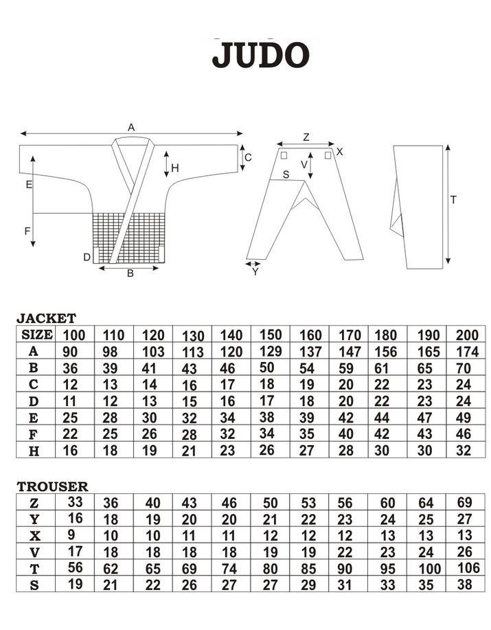 Spokey judo tabulka velikostí