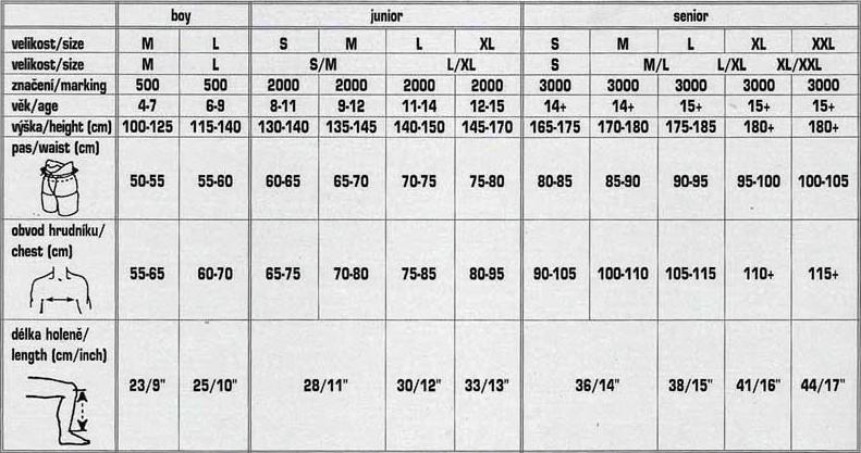 Samostatné hokejové podvazky pro děti. Tabulka velikostí Opus 01451c176e